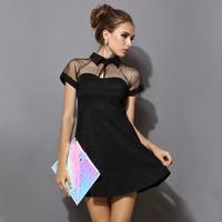Free Shipping Women Lady Summer European Casual Dress Fashion Girl Black Sexy Short Sleeve Mesh Peak Collar Club Party Dress