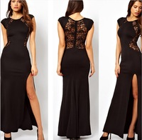 Women Sexy Black Red Split Lace Maxi Evening Dress Ladies Fashion Clubwear Hollow Out S M L XL XXL High Quality Free Shipping