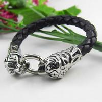 Animal leather leather bracelet titanium steel bracelet woven leather bracelet manufacturers supply Free Shipping