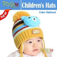 2014 New Hot Selling Newborn Infant Toddler Hats Baby Kids Knitted Hat Fleece Warm Winter Earplap Cap Hat Beanie Free Shipping