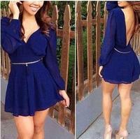 hot sale and the wind V collar fashion sexy backless Mini chiffon dress female
