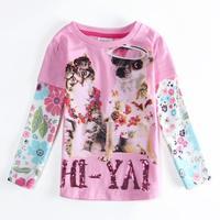 Girls Clothes NOVA Children Girls Kids T-shirt Cartoon Cat & Dog Printed Letter Sequined T shirt Kids Autumn Shirts F5526
