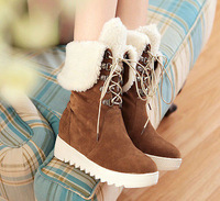 Vogue Womens Faux Fur Suede Lace Up Shoes Snow Winter Warm Sweet Mid-calf Boots