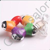 100pcs/lot Free shipping4 PORT 480 MBPS SPEED USB 2.0 LAPTOP PC MINI HUB