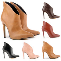 New Arrived Ultra-high heel ankle boots pointed toe boots  women's spring fall boots sexy party dress boots