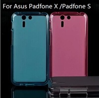 70 PCS/LOT Presium Semi Transparent Soft TPU Pudding Case For Asus Padfone X Padfone S, 4 Color,Mix Color Support ,Free Shipping