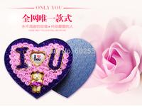 92 Flowers + Bear + Light heart box set High-end gift set valentine's day gift decoration  soap roses flower home decor