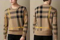Hot New 2014 Men Fashion Brand British Winter Warm Cashmere Sweater/Designer London Plaid Pullover  Sweaters S22011 SIZE  M-XXL
