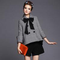 S-5XL Excelant Plaid Woolen Coat Women Wool Casual Overcoat 2014 Ladies Autumn Winter Outerwear Big Size XXXXXL