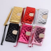Luxury Glitter Shiny PU Wallet Leather Case For iPhone 6 4.7'' Flip Diamond Buckle Card Holder Case Cover