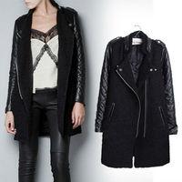 2015 New Winter Wool Coat Women Coat with pU Leather Sleeve Jackets Black Long Sleeve Femininos Casual Desigual Winter Pea Coat