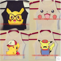 Free Shipping new fashion women's novelty spoof harajuku Pokemon cartoon Pikachu print AA style bustier crop top tank vest camis