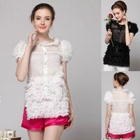2015 New fashion sweet lace chiffon shirt ladies' elegant puff sleeve Perspective ruffle blouse plus size summer tops