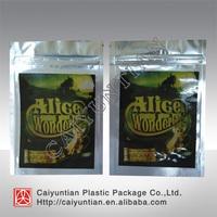 Custom new Alice in Wonderland 10g size herbal incense potpourri bag for wholesale