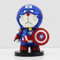 Free shipping 1pc New Arrival 8cm Doraemon cosplay Captain America PVC Figure Toys  With Box cute gift For Children