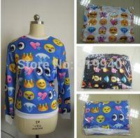 Wholesale Womens emoji Printed Sweatshirt New 2014 Autumn Women Hoodies Fashion emoji clothes Casual Suit Track Suits 30pcs/lot