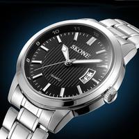 Hot Sale Men Classic Business Quartz Watch Skone Brand Full Steel Watch Men Fashion Clock Calendar Wristwatch Relogio Masculino