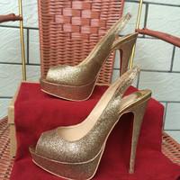 Free Shipping hot sale gold glitter peep toe14cm heel with platform woman lady female new style heel slingback wedding shoes