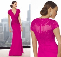 Gorgeous V Neck with Crystal Beading and Appliques New Fashion Rose Red Chiffon Mother of the Bride Dresses 2015 with Sleeves