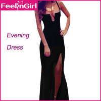 Free Shipping Black Formal Chiffon Prom Dress Long With Court Train Cut Out Side Sexy Floor-Length Evening Dress 5