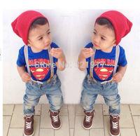 z3452 Baby Boy summer set children superman sets Baby clothing sets Free shipping