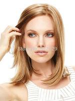 Light Brown Side Parting Heat-resistant Fiber Women's Medium Wig Kanekalon Fiber no lace Hair wigs Free shipping