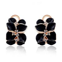 Fashion Wedding Jewelry Women Earrings Bijoux 18K Rose Gold Plate Genuine SWA Elements Austrian Crystal Enamel Flower Earring