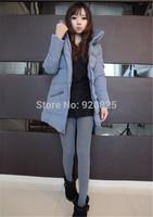 New 2014 Hot Europe Autumn Winter Women Coat Thick Cotton Long Sleeve Stand Collar Pocket Zipper Fashion Slim Warm Cloth Coat