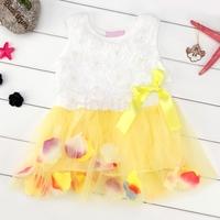Rose Floral Toddler Girl Dress Sleeveless Colorful Petal Tutu Layered Bow Princess Beading Vestidos Festa Infantil Fit 2-7Y