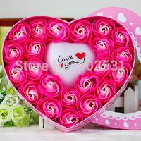 22 soap rose Flowers+light box set Creative romantic valentine's day gift decoration  soap roses flower home decor