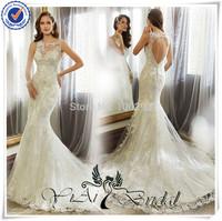 WDQ141 New Model 2014 Sexy Keyhole Back Lace Wedding Dress Patterns