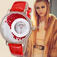 Kezzi Brand Women Red Rhinestone Watch with Fashion Leather Strap Quartz Clock Double Dials Ladies Wristwatch Reloj Mujer