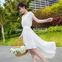 New 2014 Hot Europe Women Chiffon Dress Slim Fresh O Neck Short Batwing Sleeve White Elegant Fashion High Quanlity Summer Dress