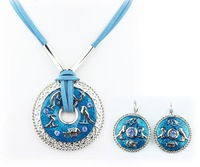 Top Quality Round Enamel  Fashion jewelry set Women's Party gift  Cords Necklace and earrings set Gifts A038
