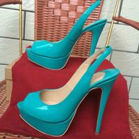 Free Shipping beautiful light sky blue patent leather peep toe14cm heel platform woman lady female 2015 new heel slingback shoes