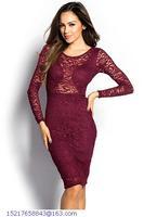New Hot Lace Pencil Dress Sexy vestido de festa Long Sleeve Cut out Midi Casual Dress LC6914