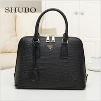 1:1 Famous Brand Handbags 2015 Top Quality Crocodile Pattern Genuine Leather Shoulder Bags Fashion Tote Women Shell Bag PRD36