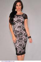 Black Lace Dress women vestido de festa lady elegant casual Overlay Scoop Back Midi Dress LC6905