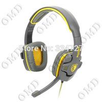 Stylish Headphones Headset w/ Microphone - Grey + Yellow (3.5mm Plug )