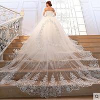 Princess luxury tube top long trailing wedding dress crystal sparkling diamond bride