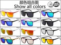 50 pcs Brand Steampunk Square Vintage Sunglasses Men SKULL Logo All Black Coating Glasses Women Retro oculos de sol masculino