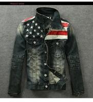 2015 American flag denim jacket for men Fashion motorcycle coat jacket denim outdoor coat