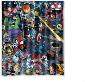 Custom home decor bath curtain marvel comics hero captain america iron man 100 polyester shower - Marvel comics decor ...