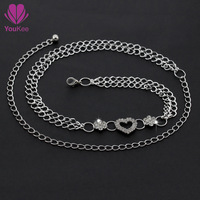 2014 New arrival waist chain belts for women,diamond+metal  Youkee silver chain belt  Free shipping