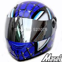 Full Face Helmet Masei 830 SPIDERMAN DOT Helmet in BLUE
