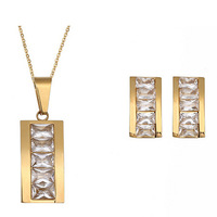 New Hot selling Wholesale 18K Gold Plated Zircon Rectangle Pendant Necklace Stud Earring Wedding Jewelry Sets For Women