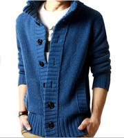 2014 Fashion New Men's knit cardigan sweater thick sweater coat Korean Slim line casual jacket coat