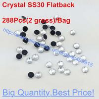 288Pcs/Bag Swarovski Elements SS30 6.3-6.5mm Crystal Clear Flatback Glue Strass Nail Art Rhinestones Hot Fix For Women Dress