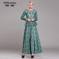 2015 New spring fashion faux two piece lace dress O-neck long sleeve elegant women's long dress full length S-XXXL