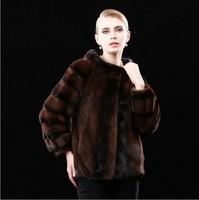 Real Genuine Natural Mink Fur Coat Mandarin Collar Winter Whole Mink Fur Coat For Women Europe Style Overcoat Outdoor